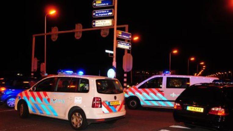 Politiewagens bij het strandfeest in Hoek van Holland. Foto ANP Beeld