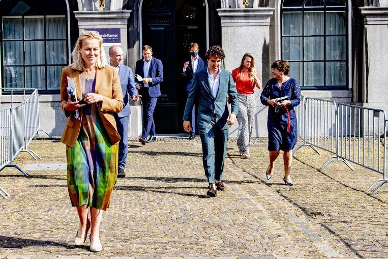 Sigrid Kaag , Jesse Klaver Gert jan Segers en Lilianne Ploumen na afloop van een gesprek met informateur Mariette Hamer.  Beeld ANP