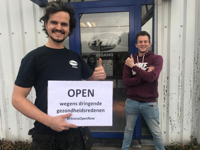 Fitnessclub Fyzix Vilvoorde staat te trappelen om heropening. Op de foto Ken Colombie en Daan Van Moer.