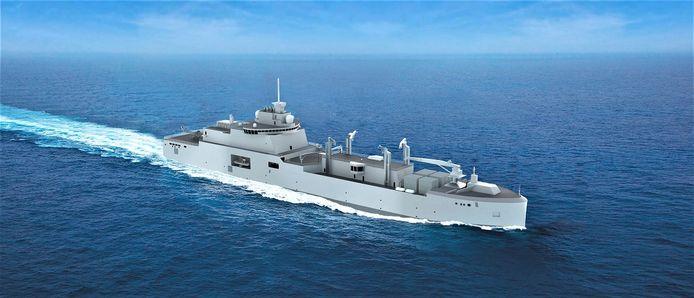 Een impressie van het Franse marineschip waarvoor Damen Marine Components in Hardinxveld-Giessendam onderdelen gaat leveren.