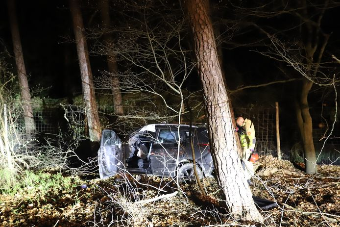 Een auto knalde op de A28 bij Hulshorst tegen de oplegger van een vrachtwagen en eindigde daarna tegen een boom naast de snelweg