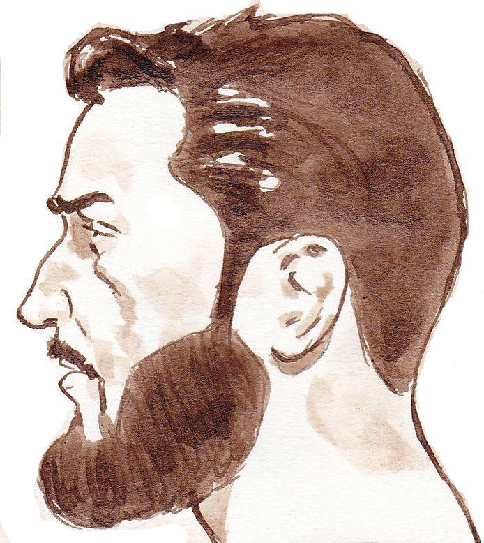 Verdachte Hardi N. op een rechtbanktekening, gemaakt tijdens een zitting in de extra beveiligde zittingszaal van de Rotterdamse rechtbank.