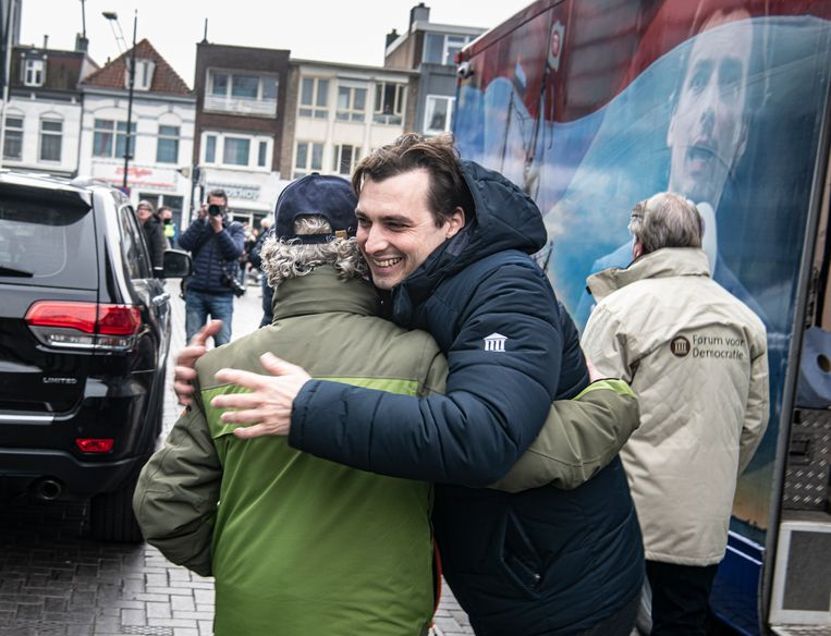 Thierry Baudet op campagne, Nijmegen, 28 februari. Beeld Koen Verheijden