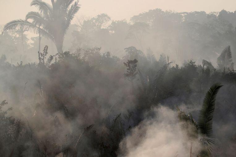 De Braziliaanse president Jair Bolsonaro ziet de Amazone als een binnenlandse kwestie en wijst elke buitenlandse bemoeienis af. Beeld REUTERS