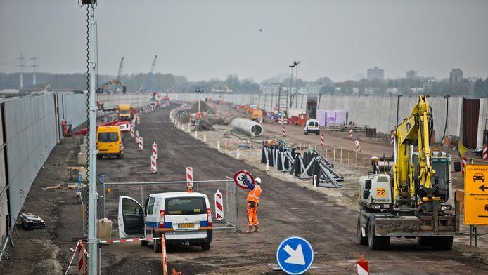 De werkzaamheden aan de A4 ter hoogte van Schiedam.