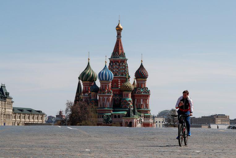 Het rode plein in Moskou is vrijwel leeg. Beeld REUTERS