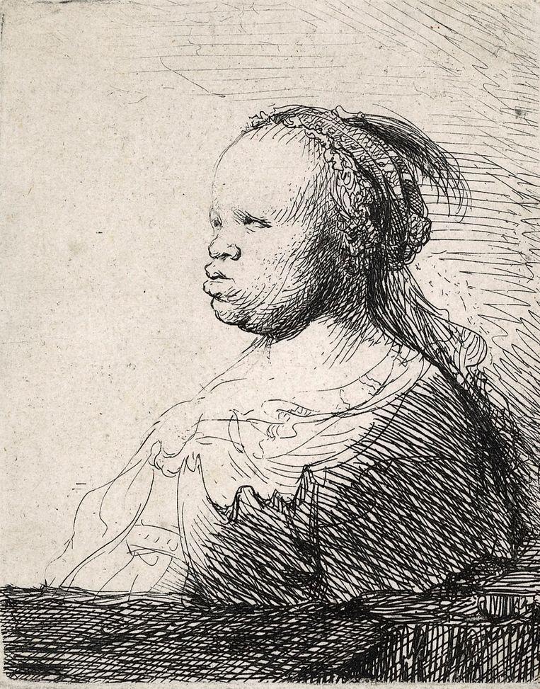 Rembrandt van Rijn, 'Buste van een Afrikaanse vrouw', rond 1650. Beeld Museum Het Rembrandthuis, Amsterdam