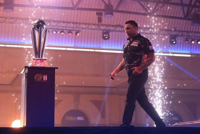 De Welshman Gerwyn Price maakt zijn intrede in 'Ally Pally' voor de finale tegen de Schot Gary Anderson.