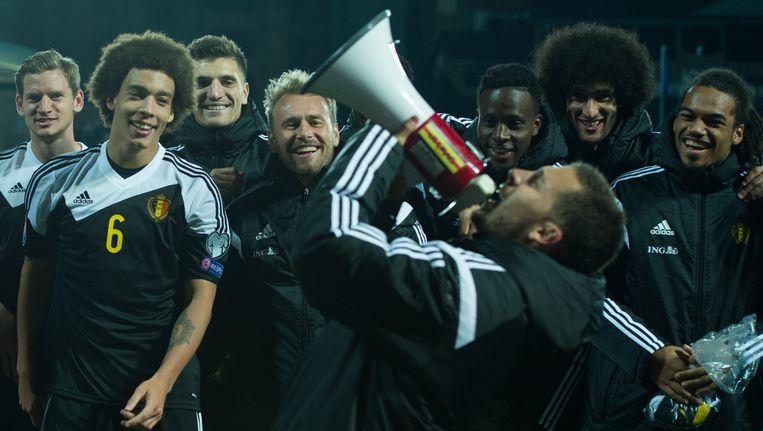 Eden Hazard viert de overwinning tegen Andorra Beeld BELGA