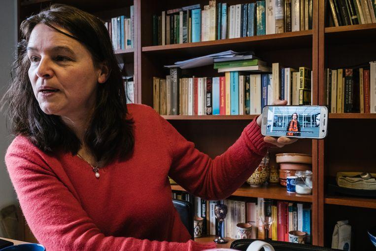 Katrien Van Der Heyden, de moeder van Anuna De Wever (initiatiefneemster van 'spijbelen voor het klimaat'), is volgens het Schema een van de spinnen in het linkse klimaatweb. Beeld Wouter Van Vooren