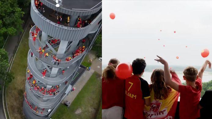Inwoners Dessel laten tientallen rode ballonnen op vanaf de Sas4-Toren