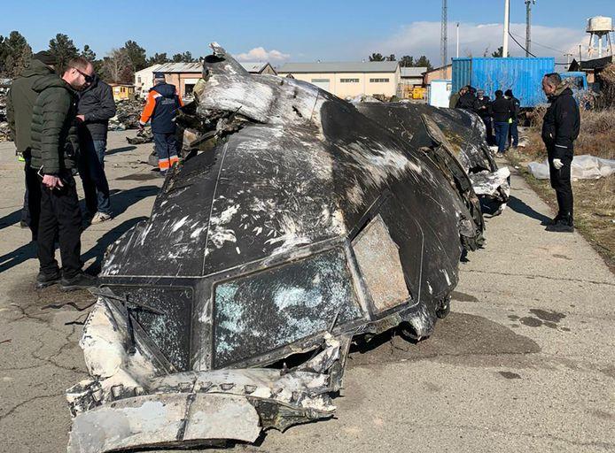 Les restes de l'avion de ligne ukrainien.