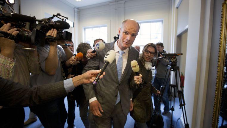VVD-fractievoorzitter Stef Blok komt aan bij de VVD-fractiekamer. Beeld anp