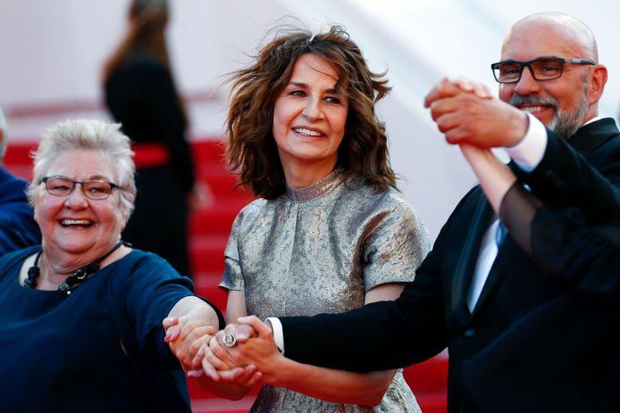 Valerie Lemercier avec Sylvain Marcel (Guy-Claude à l'écran) et Danielle Fichaud (qui joue la mère d'Aline à l'écran).