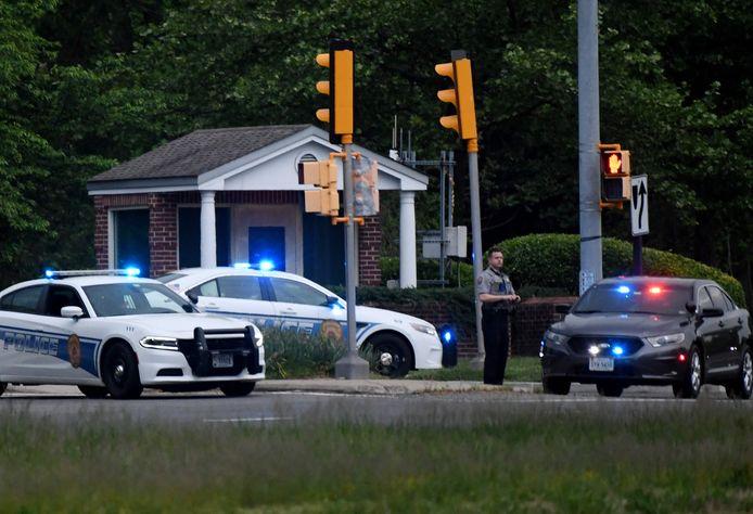 Politiewagens aan het hoofdkwartier van de CIA in Langley, Virginia, in de VS.