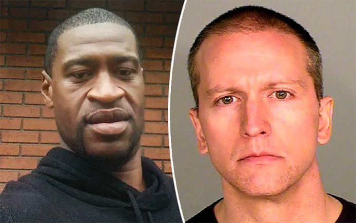 Slachtoffer George Floyd en agent Derek Chauvin.