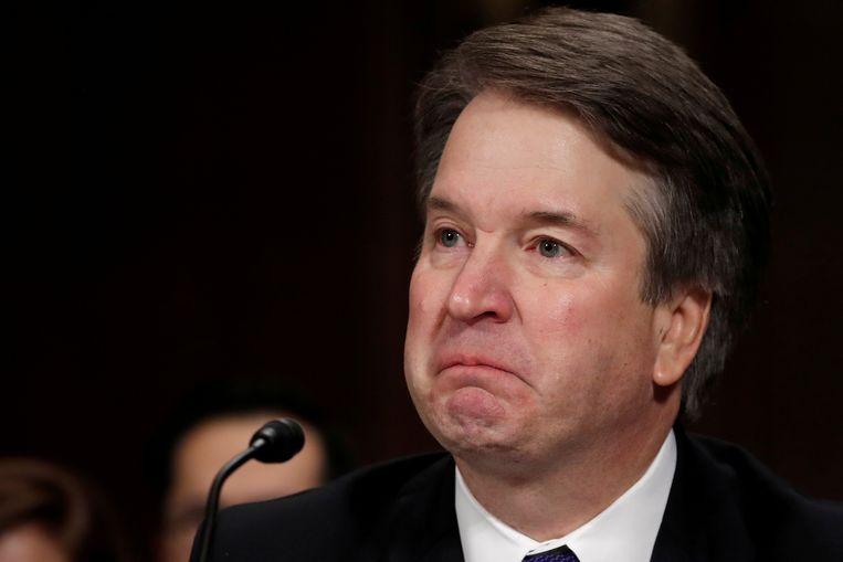 Rechter Brett Kavanaugh kon soms zijn emoties niet de baas tijdens de hoorzitting vorige maand in de Senaat over zijn voordracht tot oppperrechter.  Beeld REUTERS