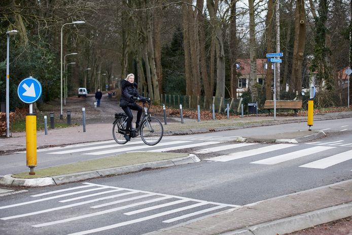 De Lochemseweg (N339) in Epse. Op de achtergrond achter de paaltjes de Oude Larenseweg. Eén van de opties om de veiligheid voor fietsers te verbeteren is om ze over de Oude Larensweg te sturen. Bij Harfsen komen fietsers dan weer uit op de provincieweg N339).