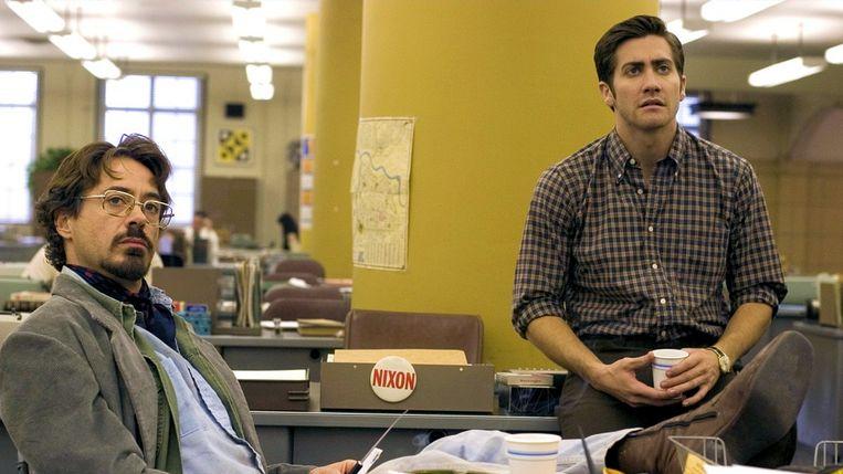 Robert Downey Jr. (links) en Jake Gyllenhaal in Zodiac. Beeld
