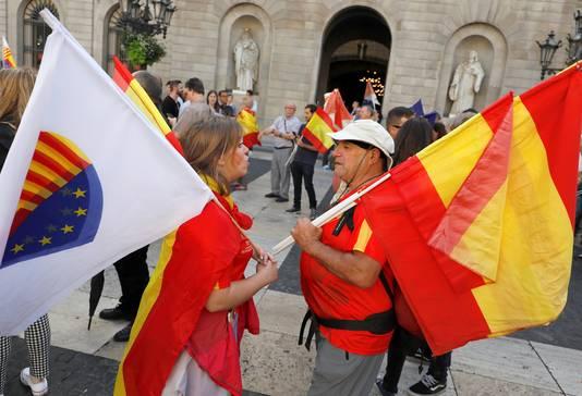 Vandaag staan er volgende demonstraties gepland: nu van tegenstanders van een zelfstandig Catalonië.