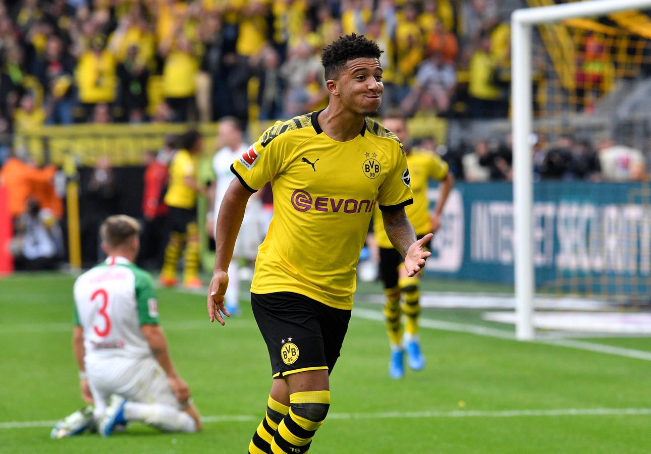 Jadon Sancho was op dreef tegen FC Augsburg.