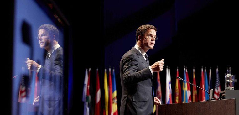Premier Rutte tijdens zijn toespraak voor de Parlementaire Assemblee in Den Haag. Beeld anp