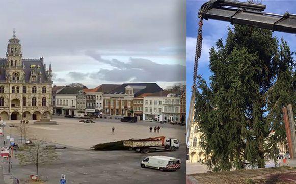 De kerstboom (r.) voldeed zichtbaar niet om de Markt (l.) te sieren.