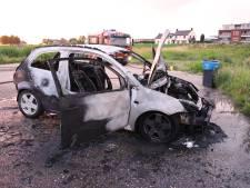 Auto brandt volledig uit langs de Waal bij Ochten