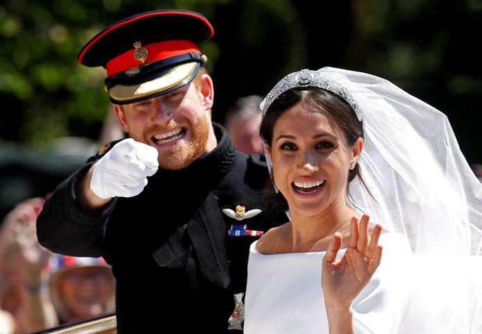 Le prince Harry et Meghan Markle lors de leur mariage en 2018.