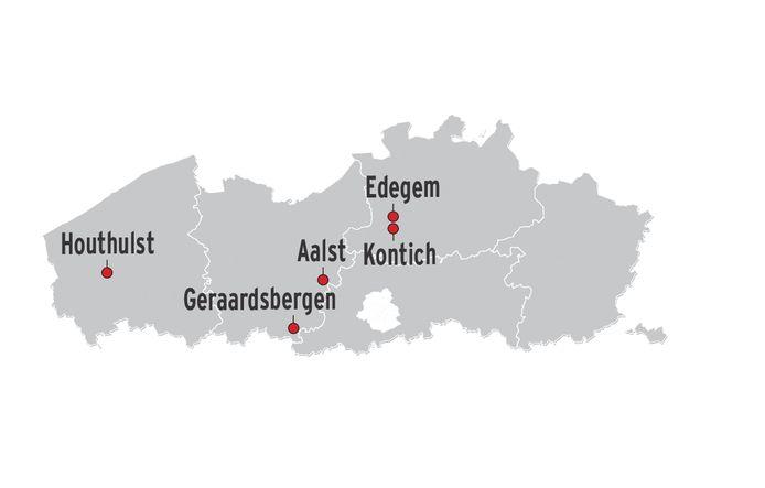 In Houthulst is er een zware uitbraak, in Edegem en Kontich zijn er voorlopig enkel nog gesignaleerde gevallen en in Aalst en Geraardsbergen zijn er vermoedelijke gevallen.
