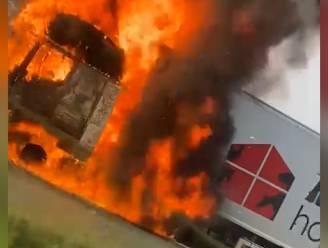 Grote hinder op Brusselse binnenring door brandende vrachtwagen in Grimbergen