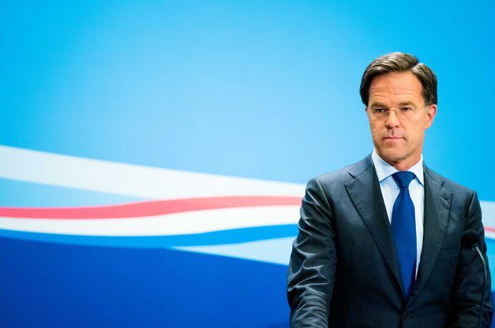 Premier Mark Rutte tijdens de wekelijkse persconferentie na afloop van de ministerraad.