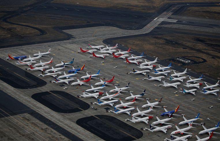 Geparkeerde Boeing 737 MAX-toestellen in Washington. Beeld REUTERS
