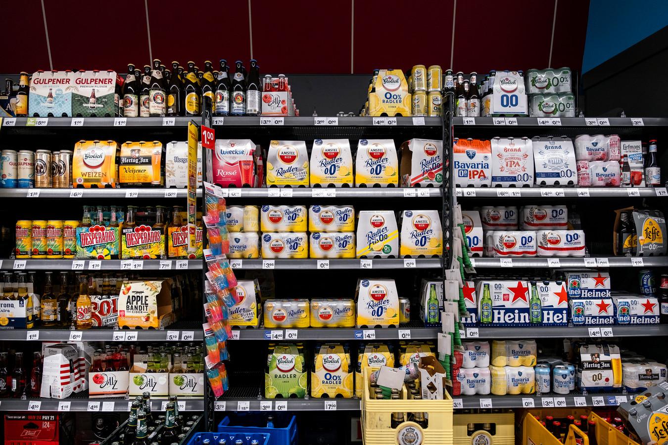 Alcohol in de supermarkt, foto ter illustratie