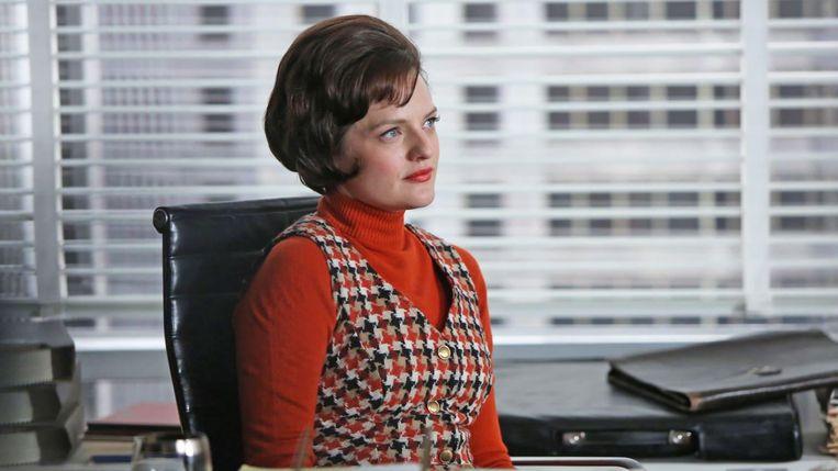 Als Peggy Olson in Mad Men. Beeld
