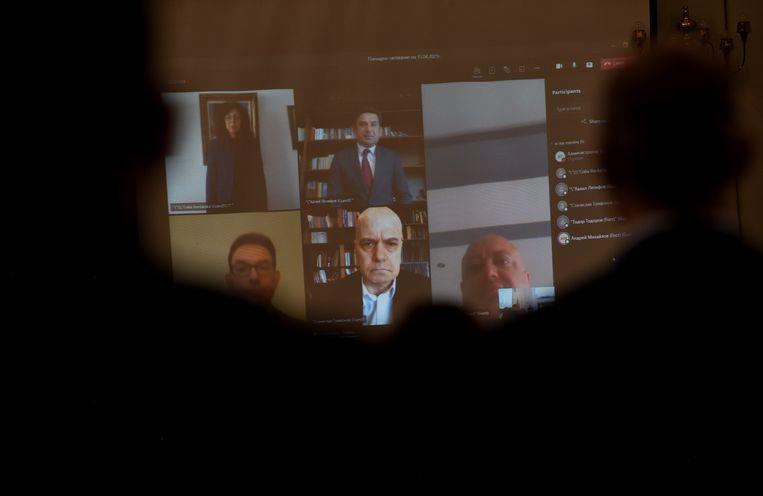 Het nieuwe parlement in Bulgarije komt online bij elkaar.   Beeld EPA