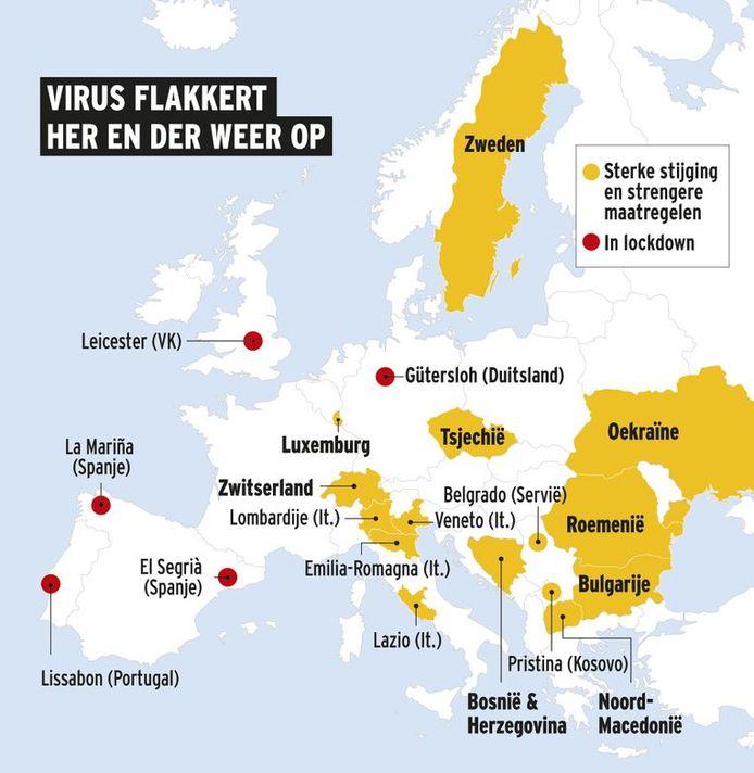 De rode gebieden zijn in lockdown, in de gele gebieden is een sterk stijging van het aantal besmettingen, waardoor strengere maatregelen gelden.
