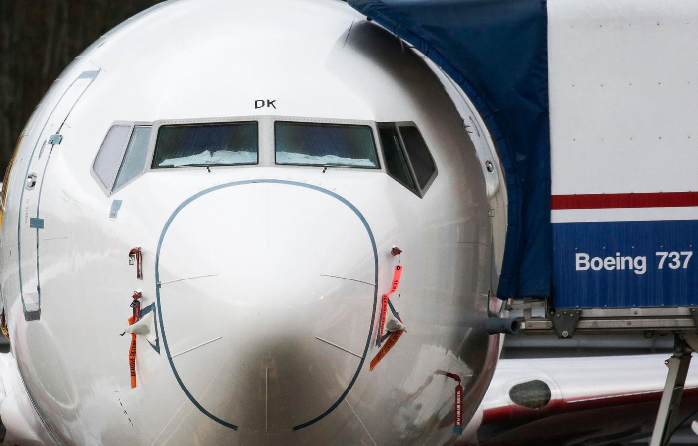 Een Boeing 737 MAX in de vliegtuigfabriek in Renton, Washington.