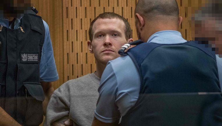 Brenton Tarrant in de rechtbank in Christchurch.  Beeld AFP
