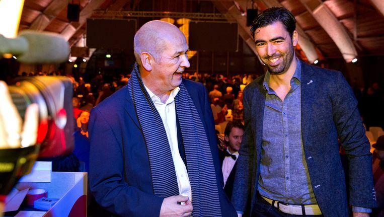 Jan Marijnissen (L) en Ron Meyer, de nieuwe voorzitter van de SP. Beeld Novum RegioFoto
