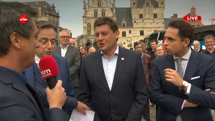 Bart De Wever (N-VA), John Crombez (sp.a) en Tom Van Grieken (Vlaams Belang)