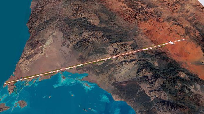 De stad zal van de Rode Zee (links) naar het noordwesten van Saoedi-Arabië lopen, over een afstand van 170 kilometer.