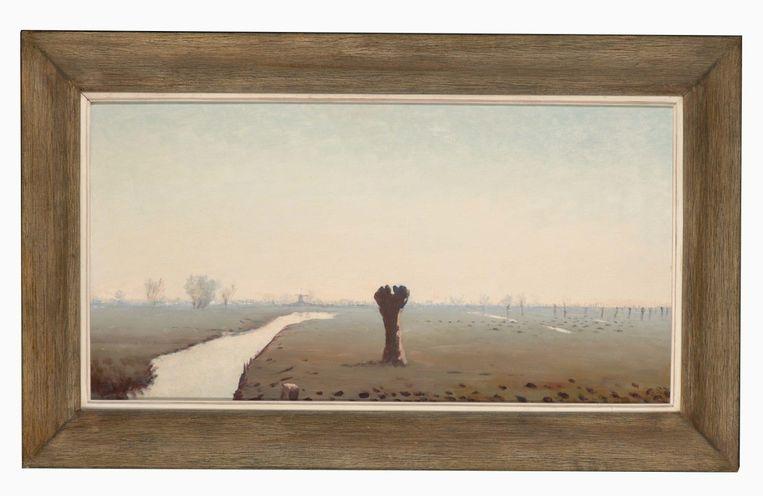 Dirk Hidde Nijland: Ochtendlandschap met wilgen, 1944. Museum De Lakenhal, Leiden.  Beeld Pictoright Amsterdam 2020