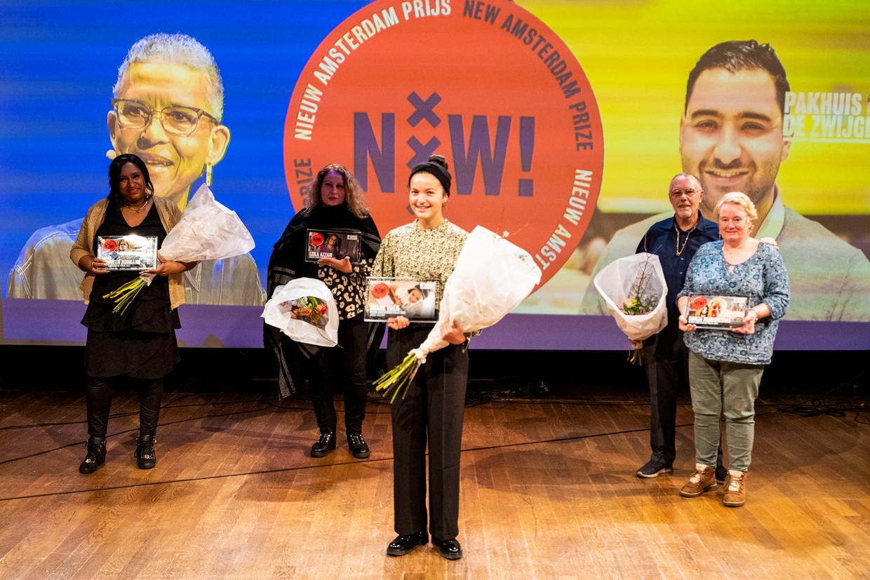 De prijswinnaars tijdens de uitreiking in Pakhuis de Zwijger. Beeld Patrick de Bruin