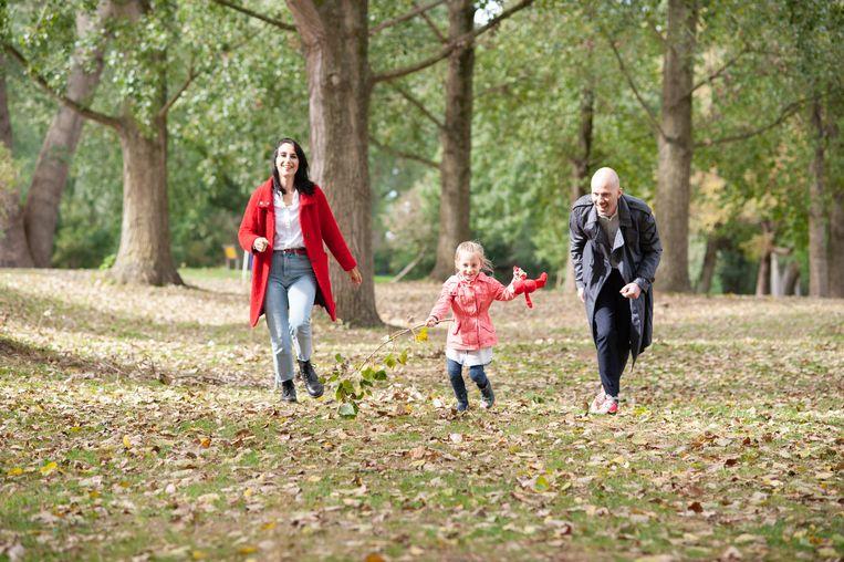 Mark met vrouw Nikki en dochter Cato. Beeld Ming Oei
