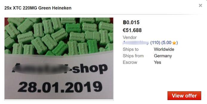 Xtc-tabletten op het dark web.