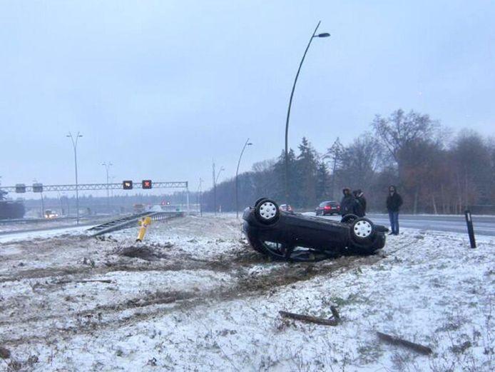 Ongeval op de N2 ter hoogte van Eindhoven Airport op 7 januari 2017.