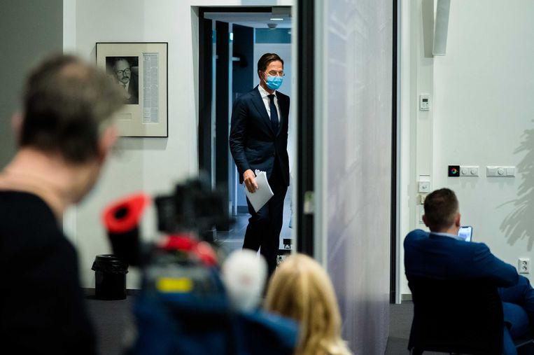 Premier Mark Rutte tijdens zijn persconferentie na de wekelijkse ministerraad. Beeld ANP