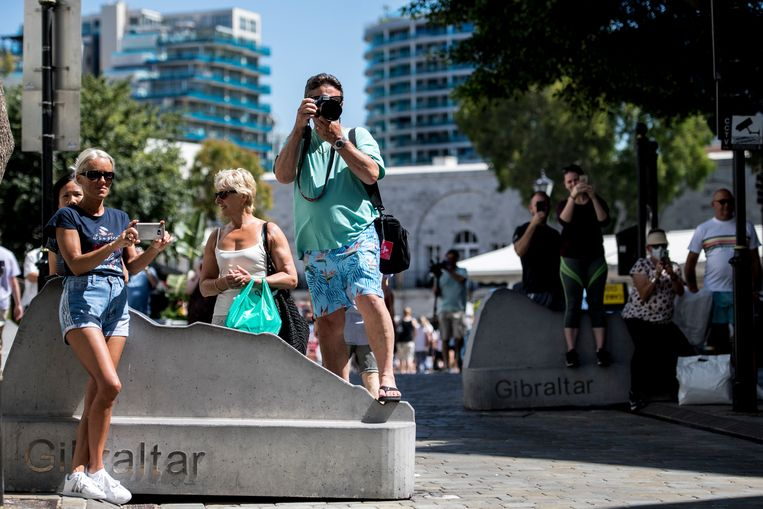 Toeristen zaterdag in Gibraltar. Beeld Getty Images