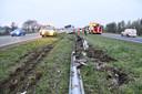 De vangrail is flink beschadigd door het eenzijdig ongeval en zal dus moeten worden hersteld.